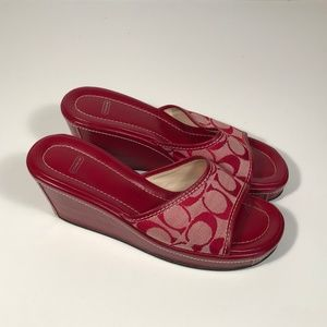 Coach Charma Signature Red Wedge Sandals 7.5 B